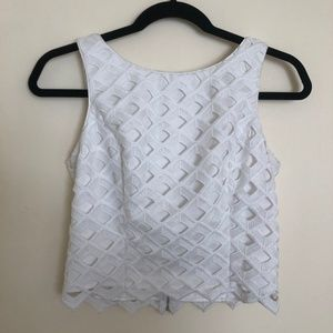 WHBM White Cropped Lace Sleeveless Top